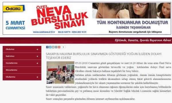 Özel Neva Okulları Bursluluk sınav yazılımı